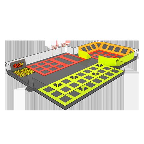 Батутная арена с паралоновой ямой 510квм 64 ячейки