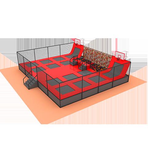 Батутная арена с паралоновой ямой. 140кв.м. 14 ячеек